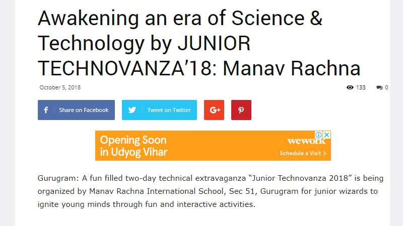 Awakening an era of Science & Technology by JUNIOR TECHNOVANZA'18