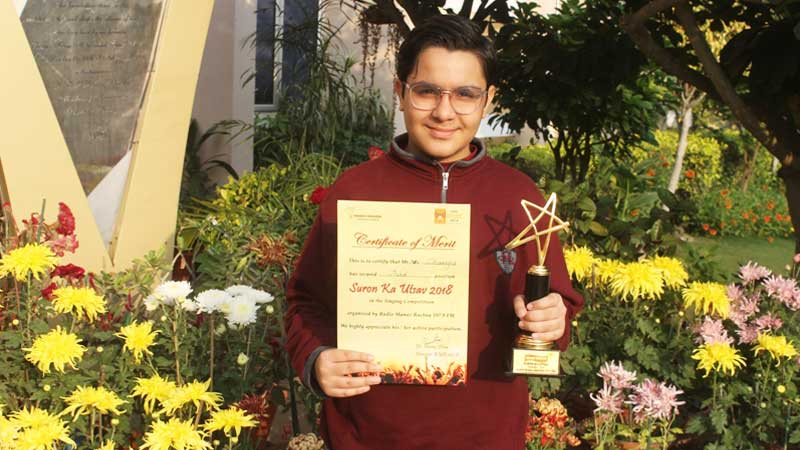 Student bags third position at Suron Ka Utsav-2018