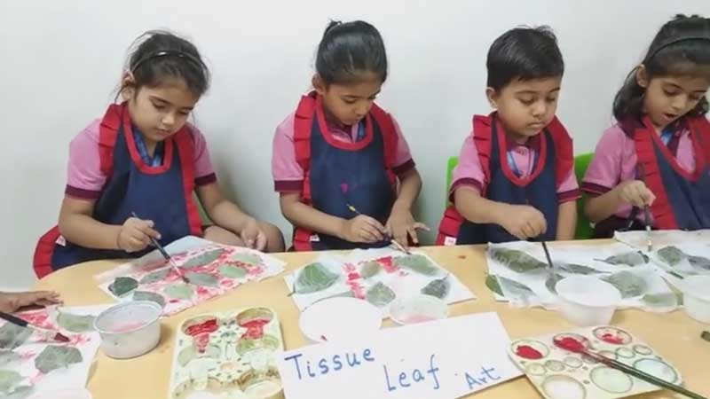 Tissue Leaf Art by students of KG