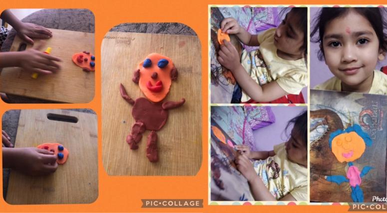 Nursery kids made self-portraits using clay
