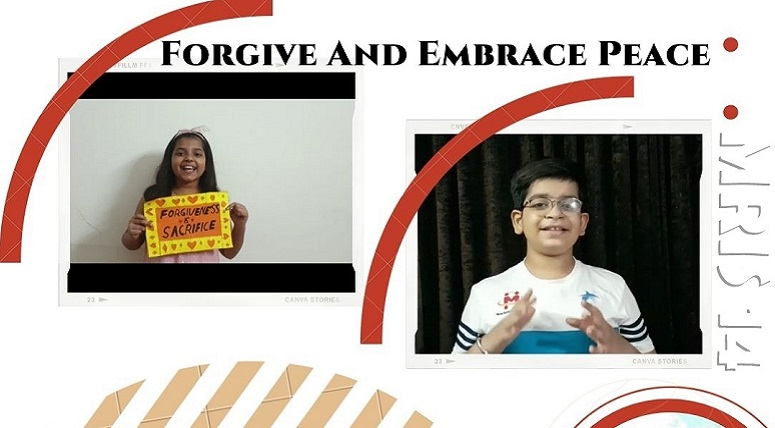 Grade V Students enacted a story on the importance of Forgiveness